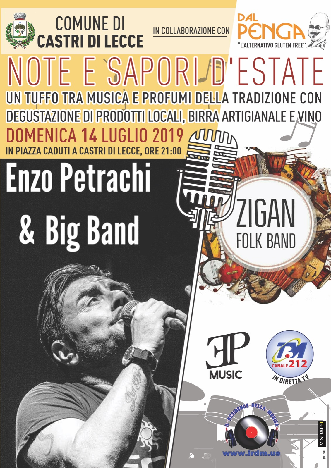 manifesto evento del 14 luglio 2019. Enzo Petrachi and Big Band e Zigan Folk Band.